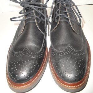 Selaria Richards Black Leather Wingtip Ankle Boots